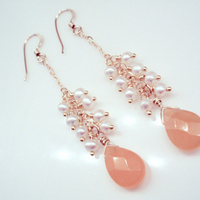 Jewelry, orange, Earrings, Bridesmaid, Bridal, Jade, Jewelrydelicaciesetsycom