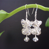 Jewelry, Earrings, Bridesmaid, Bridal, Swarovski, Sparkling, Cluster, Jewelrydelicaciesetsycom