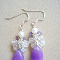 Jewelry, purple, Earrings, Teardrop, Dangle, Briolette, Cluster, Jewelrydelicaciesetsycom, Chalcedony
