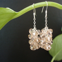 Jewelry, pink, Earrings, Vintage, Bridesmaid, Swarovski, Matron of honor, Cluster, Jewelrydelicaciesetsycom