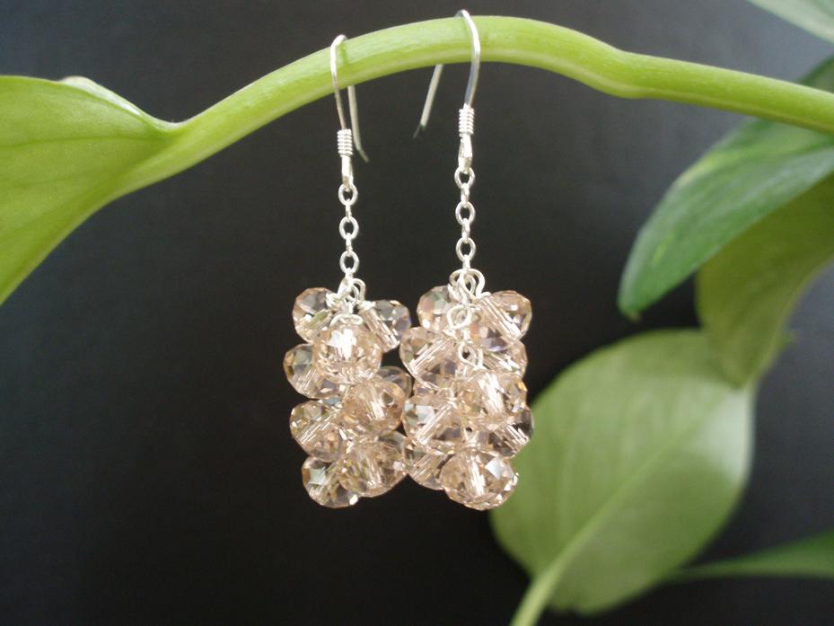 Jewelry, pink, Earrings, Vintage, Bridesmaid, Swarovski, Matron of honor, Cluster, Jewelrydelicaciesetsycom