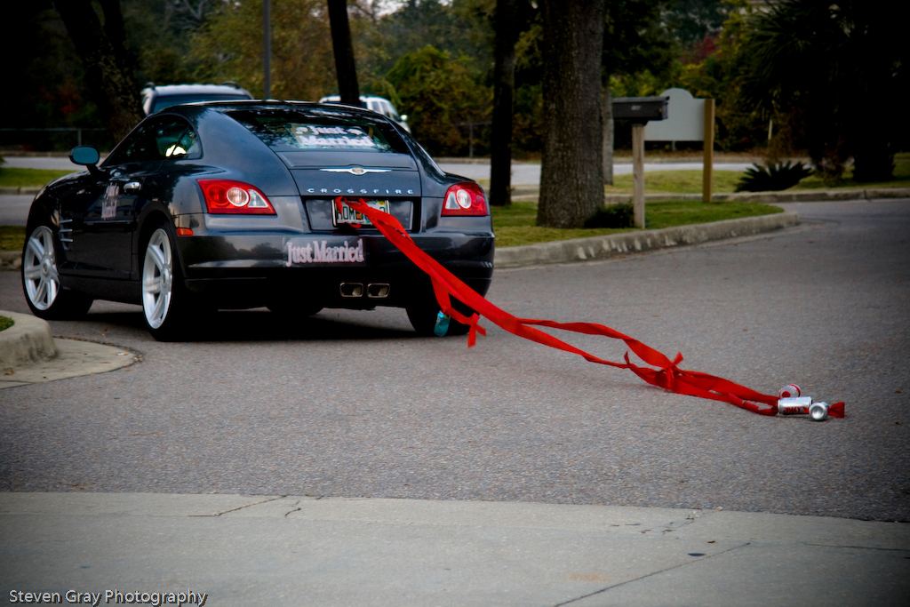Reception, Flowers & Decor, red, Car, Exit, Ribbon, Can, Cans, Steven gray photography