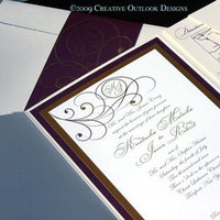 Stationery, ivory, gold, Invitations, Wedding, And, Creative outlook designs, Ruby