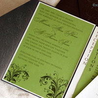 Stationery, green, brown, invitation, Invitations, Wedding, Pocketfold, Metallic, Creative outlook designs