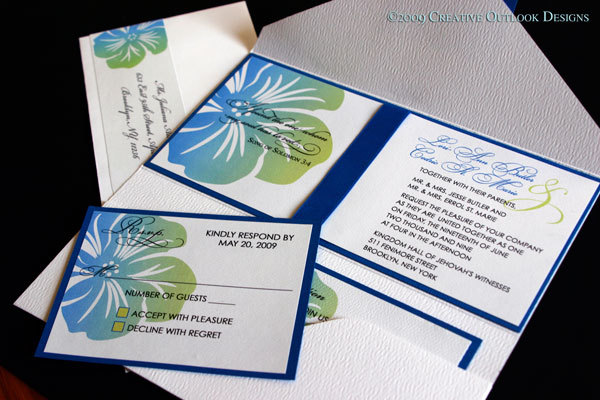 Stationery, white, blue, green, invitation, Invitations, Wedding, 4, X, Creative outlook designs, 9