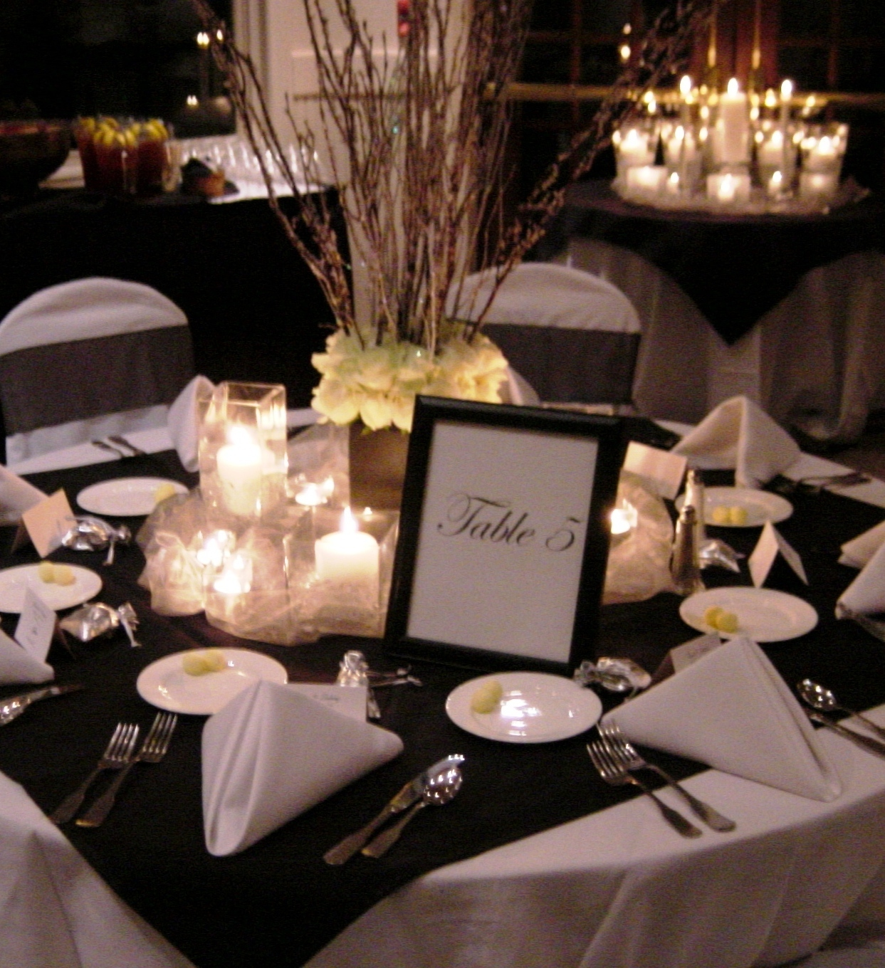 Reception, Flowers & Decor, white, black, Flowers, Branches, And, Winery, Dinner