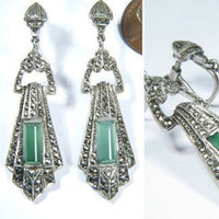 Jewelry, green, Earrings, Art, Deco, 1930s