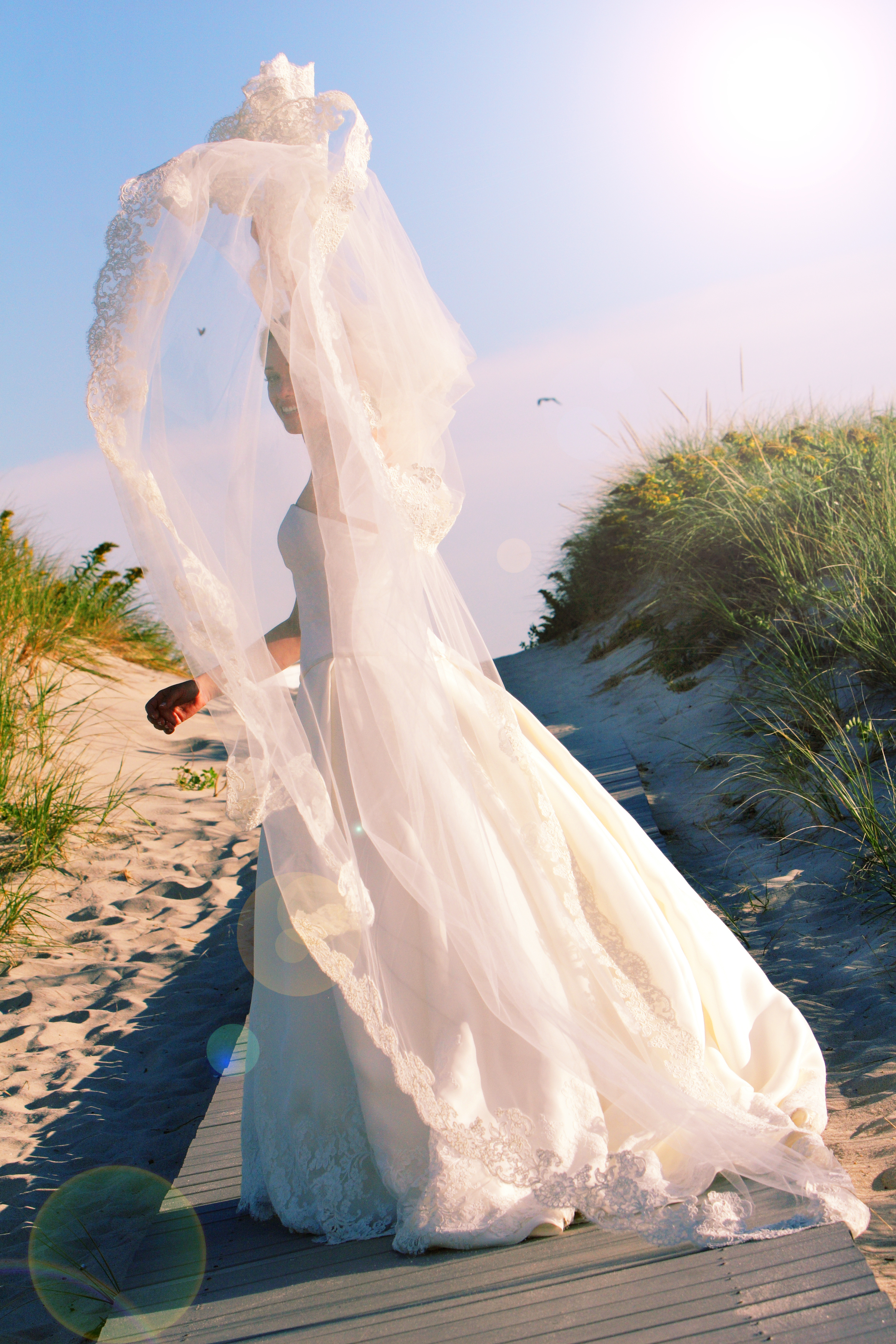 Ceremony, Bride, Beach, Veil, The, In, At, On, Her, Air, Boardwalk, Throwing, Atlantica, Westhampton, Following, Flowers & Decor, Beach Wedding Flowers & Decor, Fashion, Veils, Beach Wedding Dresses