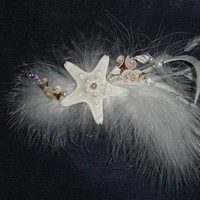 Beauty, Comb, Beach, Hair, Bridal, Pearls, Shells, llc, Fascinator, Ornament, Artistic veil design studio