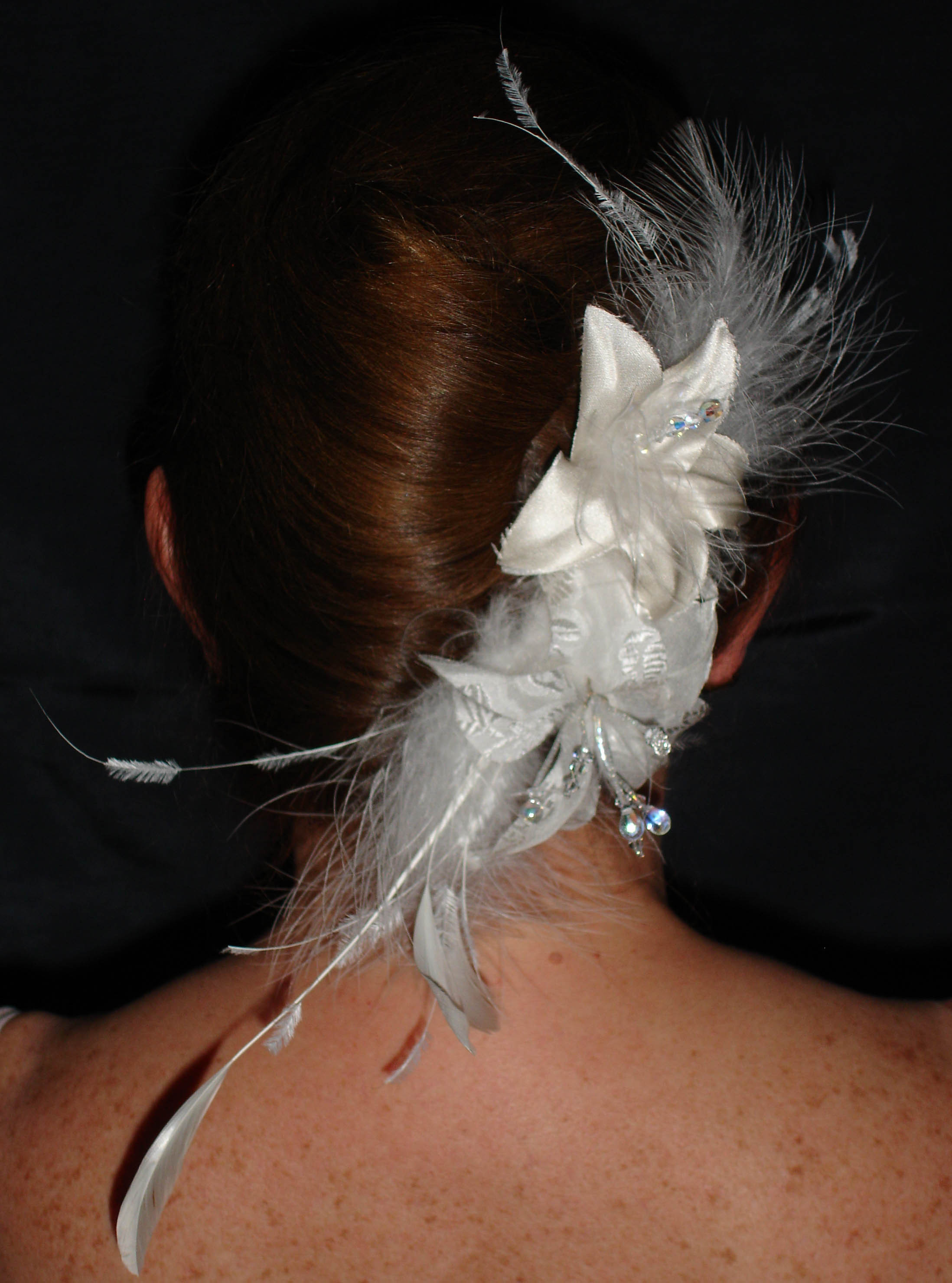 Beauty, Flowers & Decor, Feathers, Comb, Flower, Hair, Bridal, Headpiece, llc, Fascinator, Silk, Ornament, Artistic veil design studio