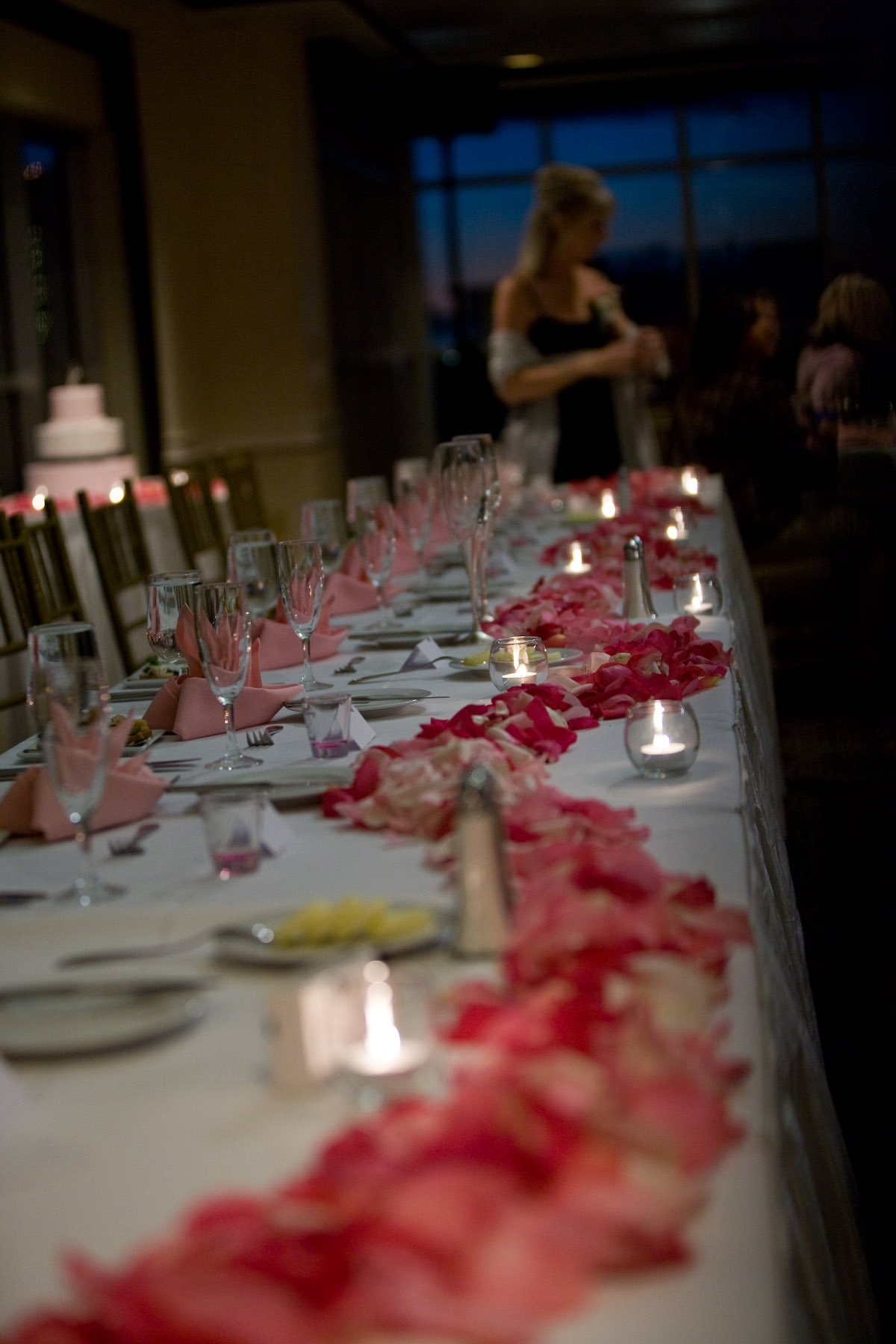Flowers & Decor, pink, Flowers, Head table, Rose petals