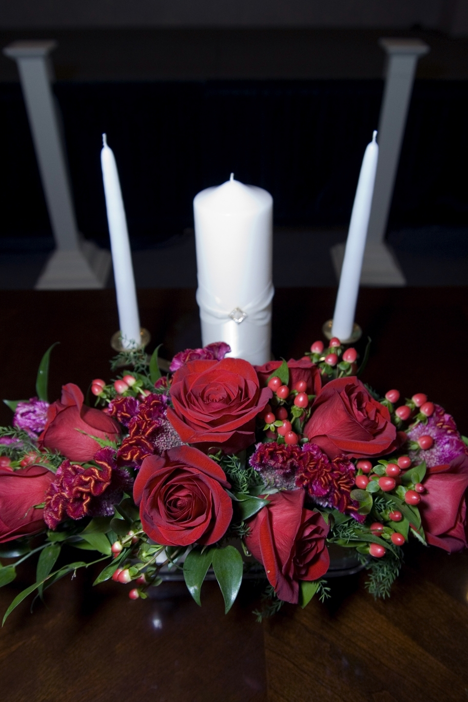 Ceremony, Flowers & Decor, red, Ceremony Flowers, Flowers, Roses, Unity candle