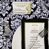 white, green, black, Menu, Black and white, Winery, Damask, Stripes, Tablescape, Black white, Tablesetting, Kate miller events, Rh phillips winery, Rh phillips, Photo card