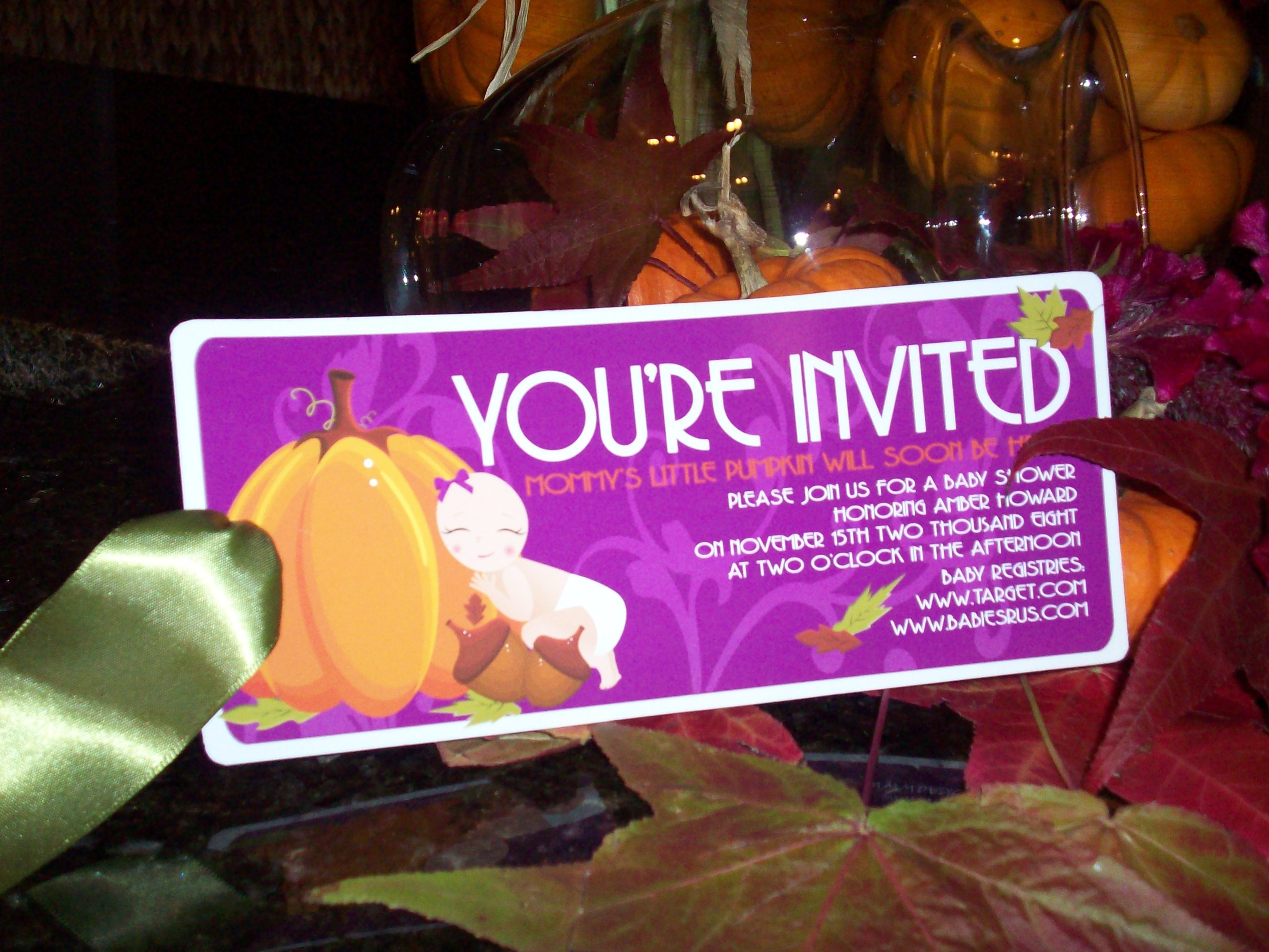 Stationery, orange, purple, green, invitation, Fall, Invitations, Pumpkin, Baby, Shower, Baby shower