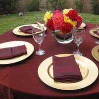 Registry, red, gold, Place Settings, Tablecloth, Dark, Linen, Burgandy, Or, Plates, Charger, Bella- couture wedding lines, chair covers 100 charger plates rental