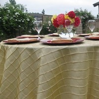 Registry, red, gold, Place Settings, Linens, Tablecloth, Light, Plates, Charger, Pintuck, Bella- couture wedding lines, chair covers 100 charger plates rental