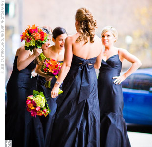 Flowers & Decor, Bridesmaids, Bridesmaids Dresses, Fashion, orange, blue, Bridesmaid Bouquets, Flowers, Flower Wedding Dresses