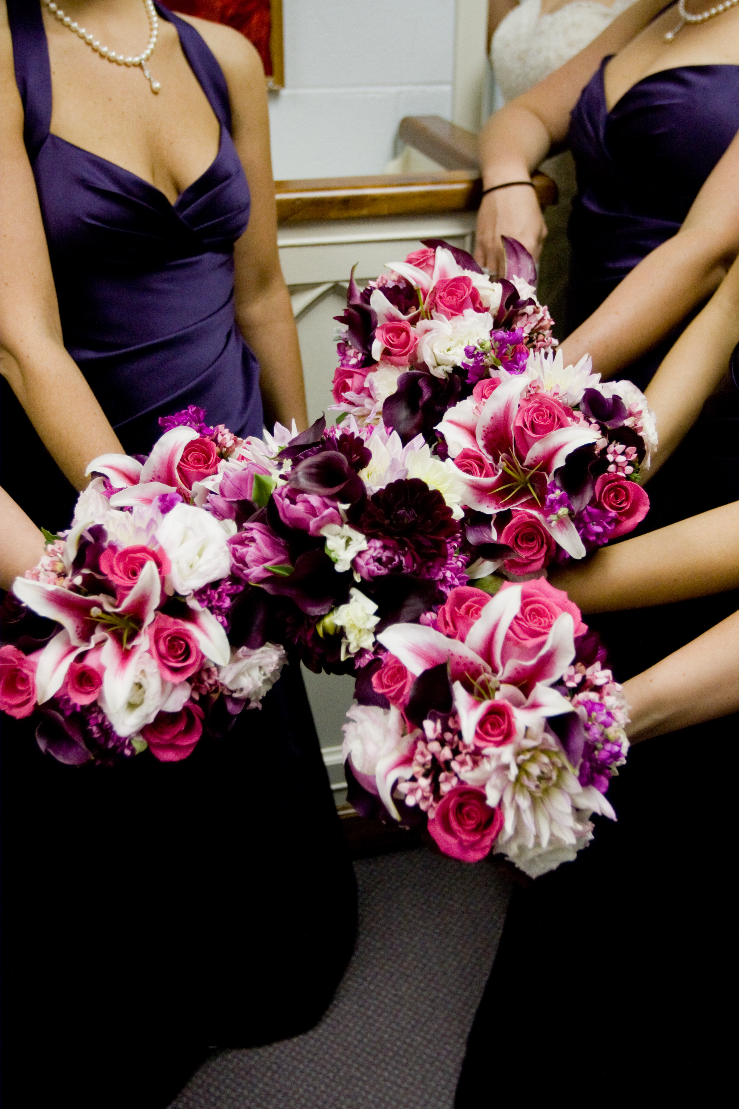 Flowers & Decor, Bridesmaids, Bridesmaids Dresses, Fashion, pink, purple, Bridesmaid Bouquets, Flowers, Dresses, Roberts and co, Flower Wedding Dresses