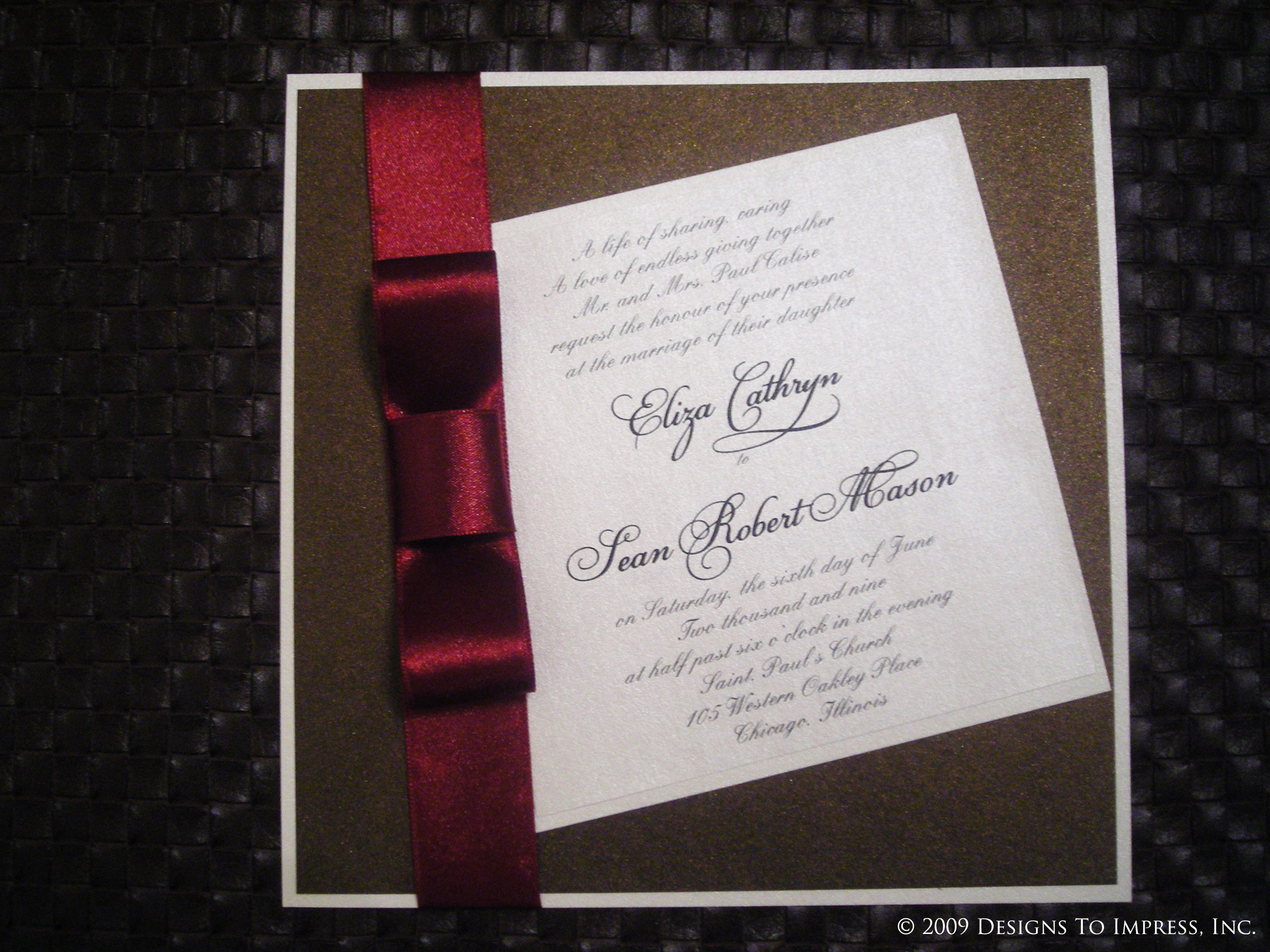 Stationery, red, Square, Classic Wedding Invitations, Invitations, Wedding, Chocolate, Unique, inc, Ribbon, Shimmer, Layered, Designs to impress
