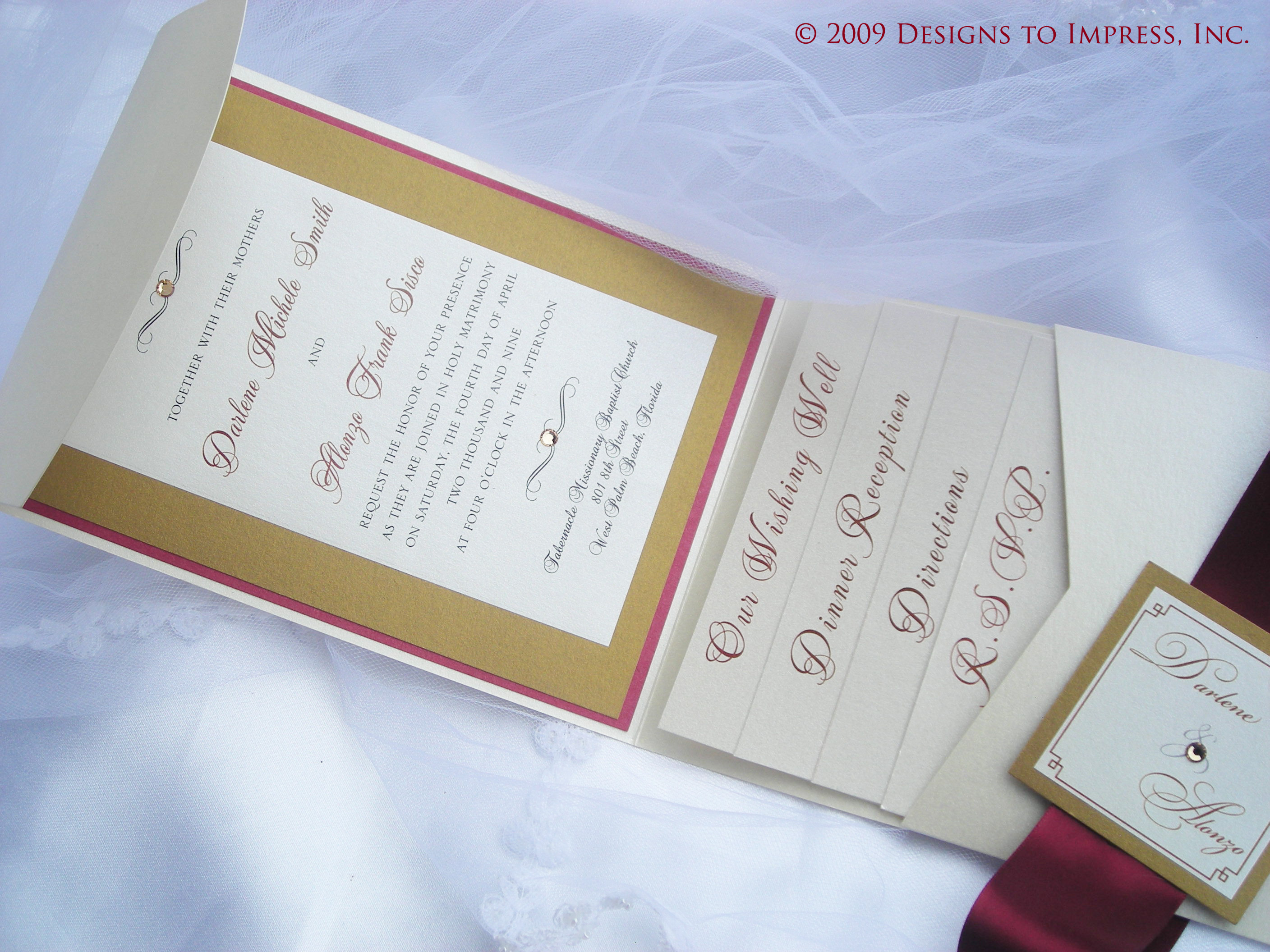 ivory, red, gold, inc, Cream, Pocketfold, Wedding invitation, Rhinestone, Shimmer, Designs to impress