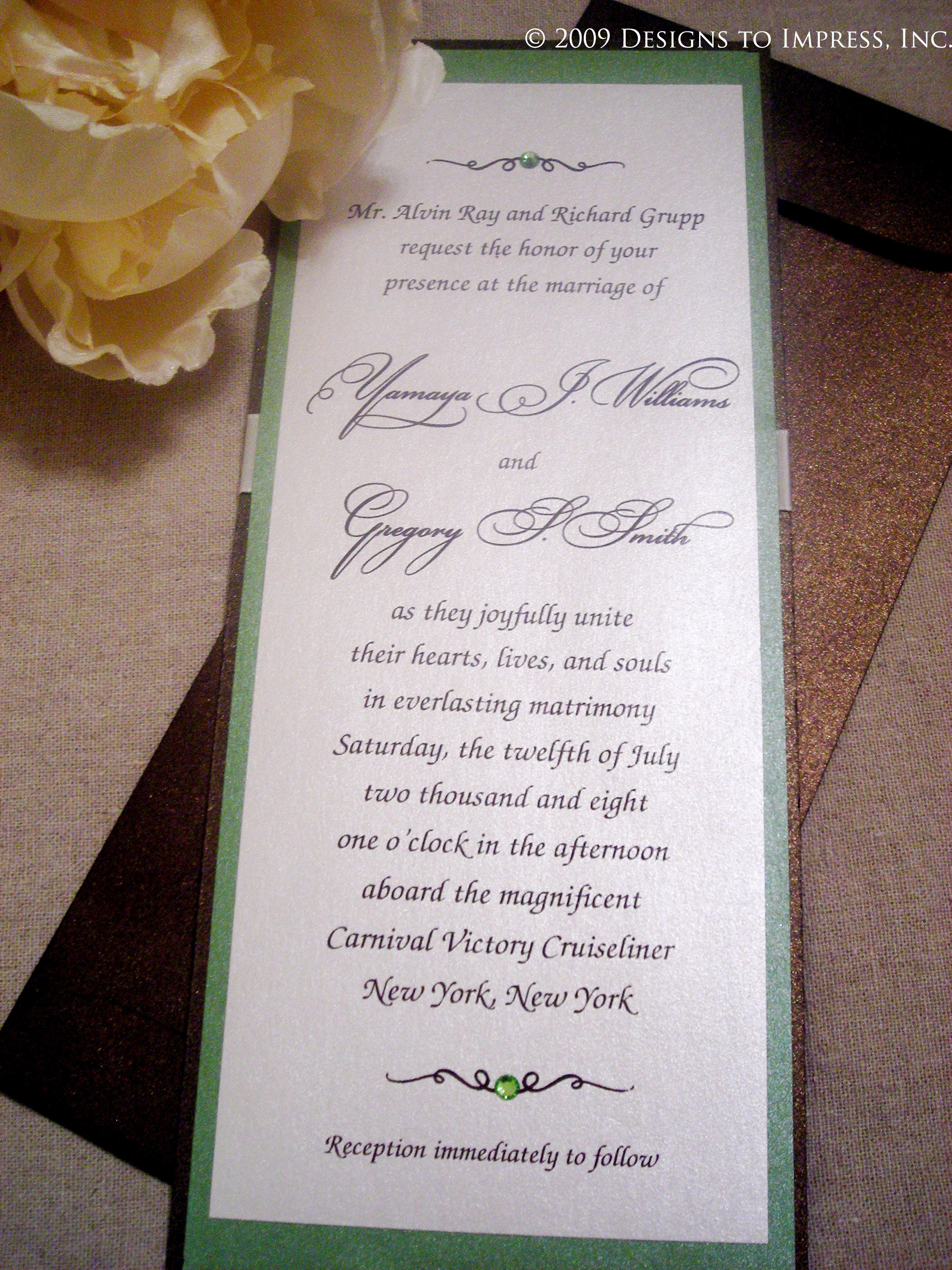 green, Chocolate, inc, Shimmer, Wedding invitations, Designs to impress