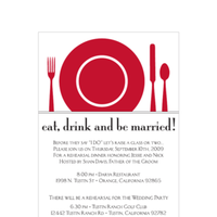 Stationery, white, red, black, invitation, Invitations, Dinner, Rehearsal
