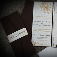 Stationery, ivory, brown, Invitations, Champagne, Formal, Just invite me