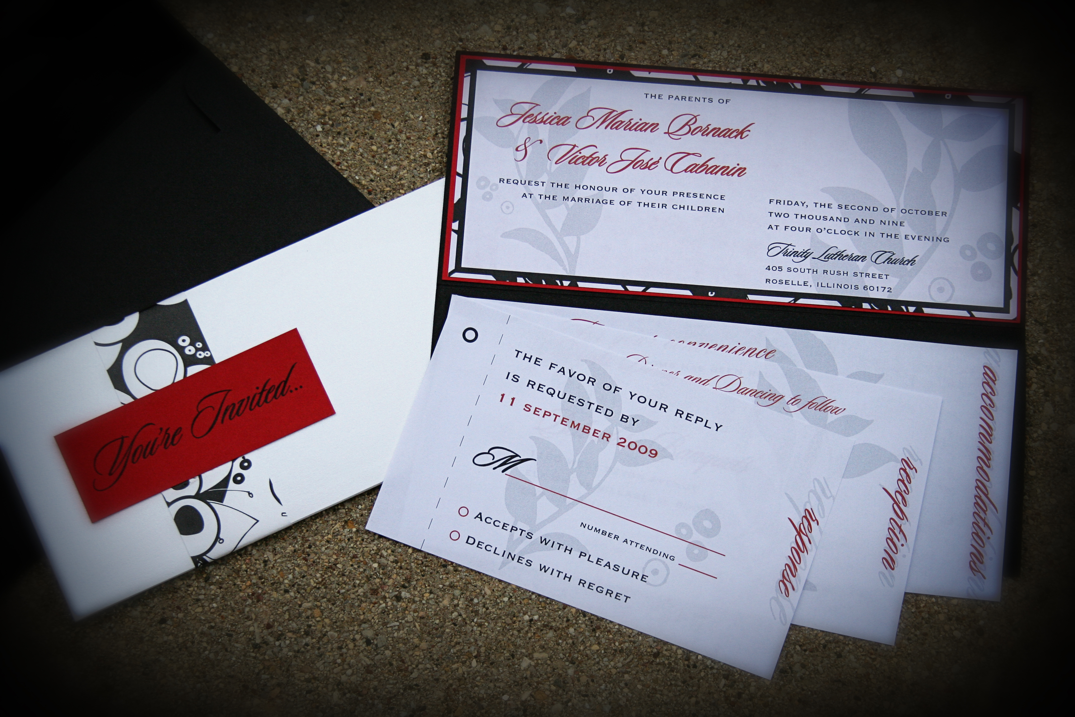 Stationery, white, red, black, Invitations, Formal, Just invite me