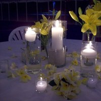 yellow, Beach, Candles, Centerpiece, Plumeria, Simple, Lillies, Candelight