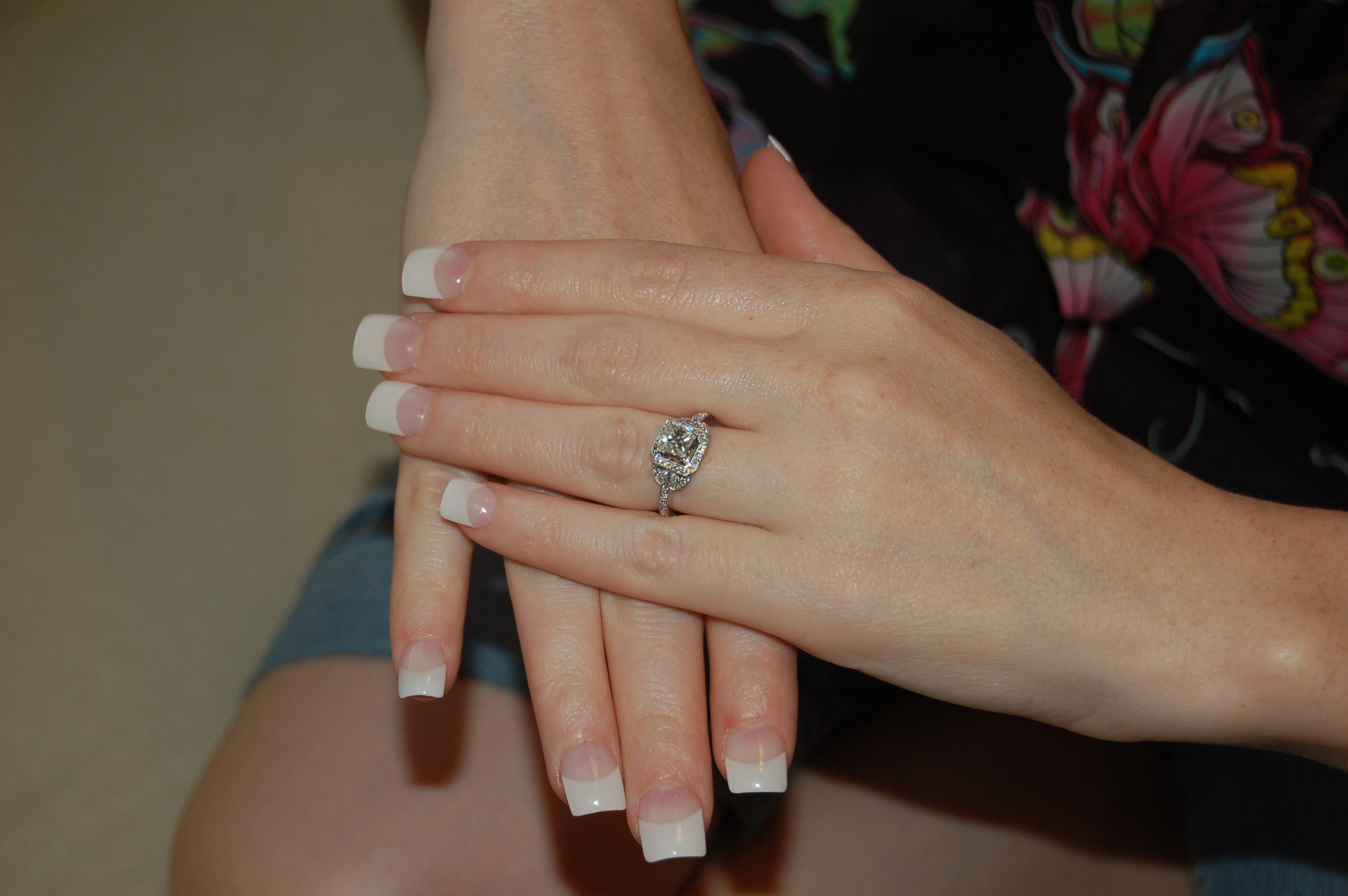 white, gold, Princess, E-ring, Diamond, Pave, Halo