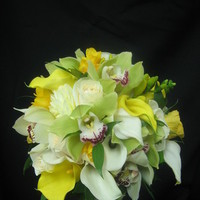 Flowers & Decor, white, ivory, yellow, green, Bride Bouquets, Flowers, Bouquet, Orchid, Bridal, Rose, Starbright floral design