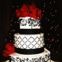 Cakes, white, black, cake, And, Buttercream, Damask