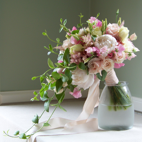 Flowers & Decor, ivory, pink, green, Bride Bouquets, Garden, Flowers, Garden Wedding Flowers & Decor, Bouquet, Cascade, Blush, Floral verde llc