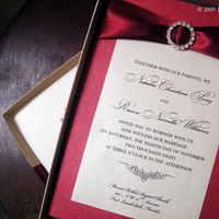 Stationery, red, invitation, Invitations, Wedding, inc, Ribbon, Box, Rhinestone, Cranberry, Shimmer, Buckle, Designs to impress