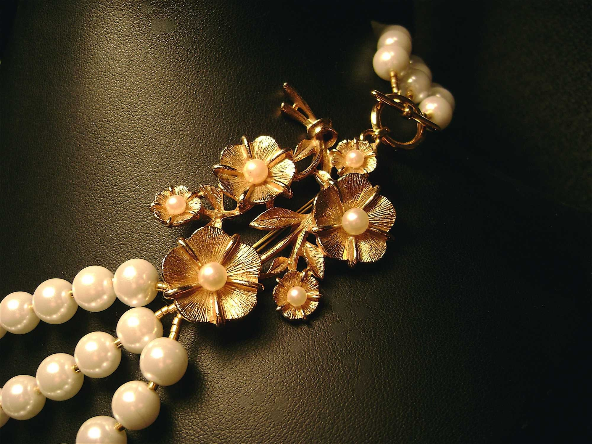 Flowers & Decor, Jewelry, Necklaces, Vintage, Flower, Elegant, Necklace, Pearl, Etsy, Handmade, Damselle jewelry