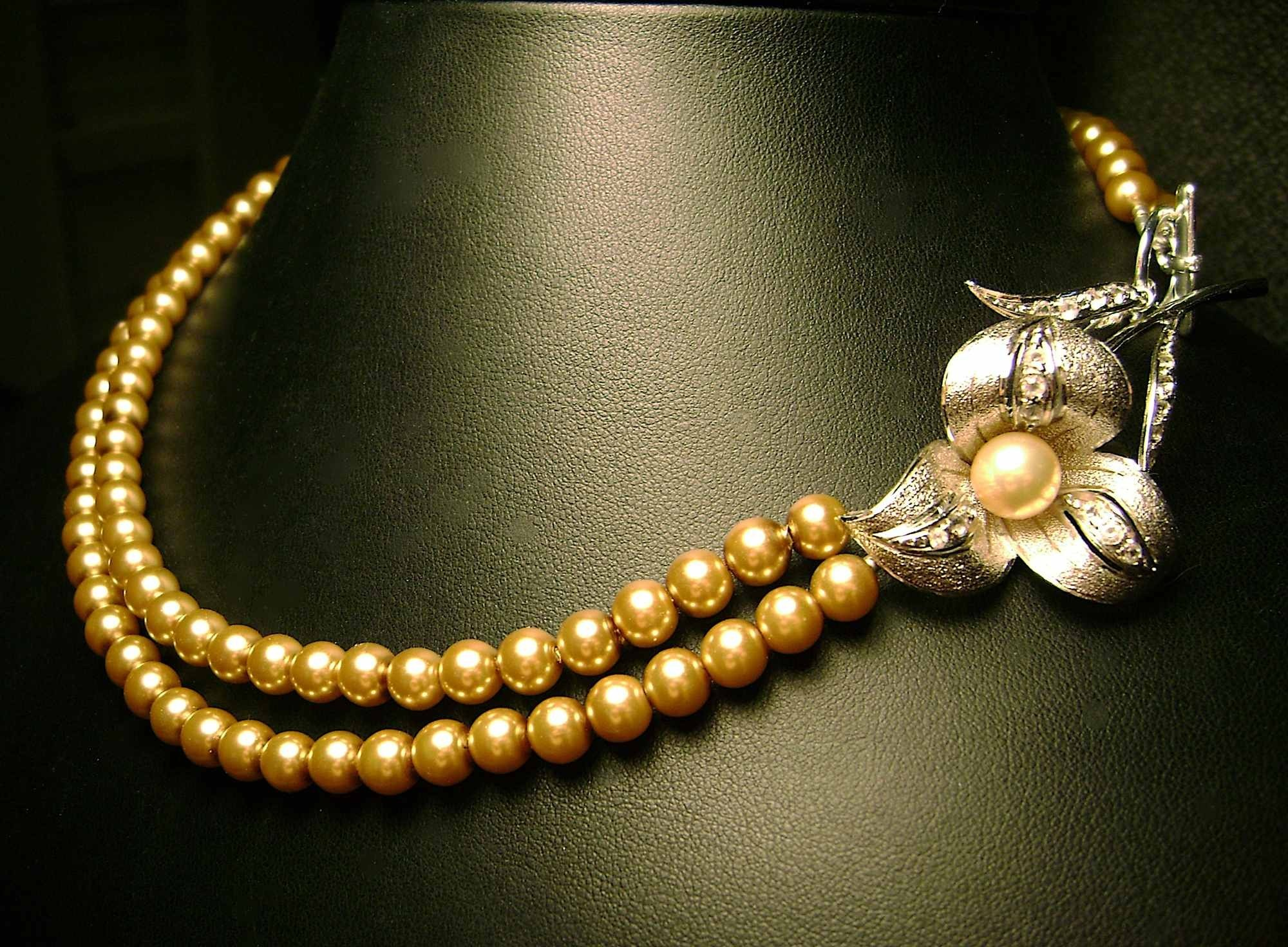 Flower, Jewelry, Elegant, Vintage, Pearl, Necklace, Handmade, Etsy, Damselle jewelry, Flowers & Decor, Necklaces