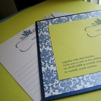 Stationery, blue, green, Invitations, Kiss n tell cards