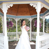 Bride in wedding gazebo