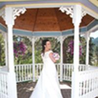 Bride in wedding gazebo