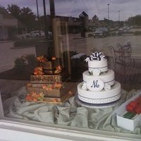 Cakes, black, cake, Fall, Monogrammed Wedding Cakes, Round, Roses, Monogram, Fondant, Buttercream, Leaves, ltd, Simply cakes