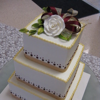 Flowers & Decor, Cakes, ivory, black, cake, Ribbon Wedding Cakes, Square Wedding Cakes, Square, Flowers, Fondant, Buttercream, Ribbon, ltd, Icing, Simply cakes