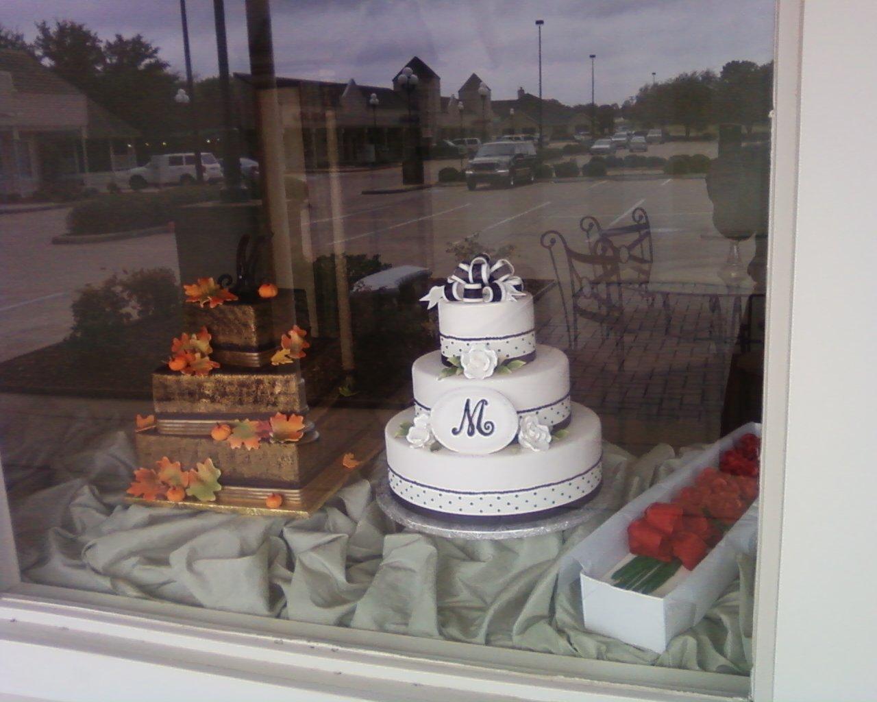 Cakes, black, cake, Fall, Monogrammed Wedding Cakes, Round, Roses, Monogram, Fondant, Buttercream, Leaves, ltd, Simply cakes