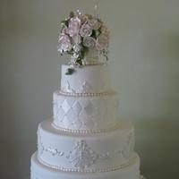 Flowers & Decor, Cakes, white, ivory, cake, Round, Flowers, Fondant, Pearl, ltd, Sugar, Simply cakes