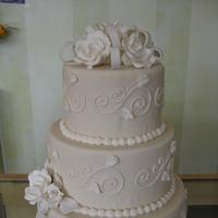 Cakes, ivory, cake, Round, Roses, Fondant, Bow, ltd, Sugar, Simply cakes
