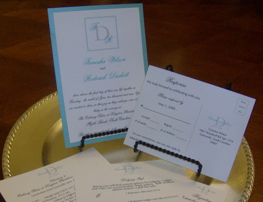 Stationery, white, blue, invitation, Invitations, Monogram, Tiffany, 2, Layer, Personalized by shirrene