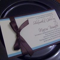 Stationery, blue, brown, invitation, Invitations, Chocolate, Tiffany, Ribbon, 3, Aqua, Layer, Personalized by shirrene