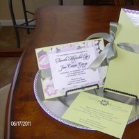 Stationery, green, invitation, Invitations, Program, And, Colorful, Ribbon, Ensemble, Personalized by shirrene