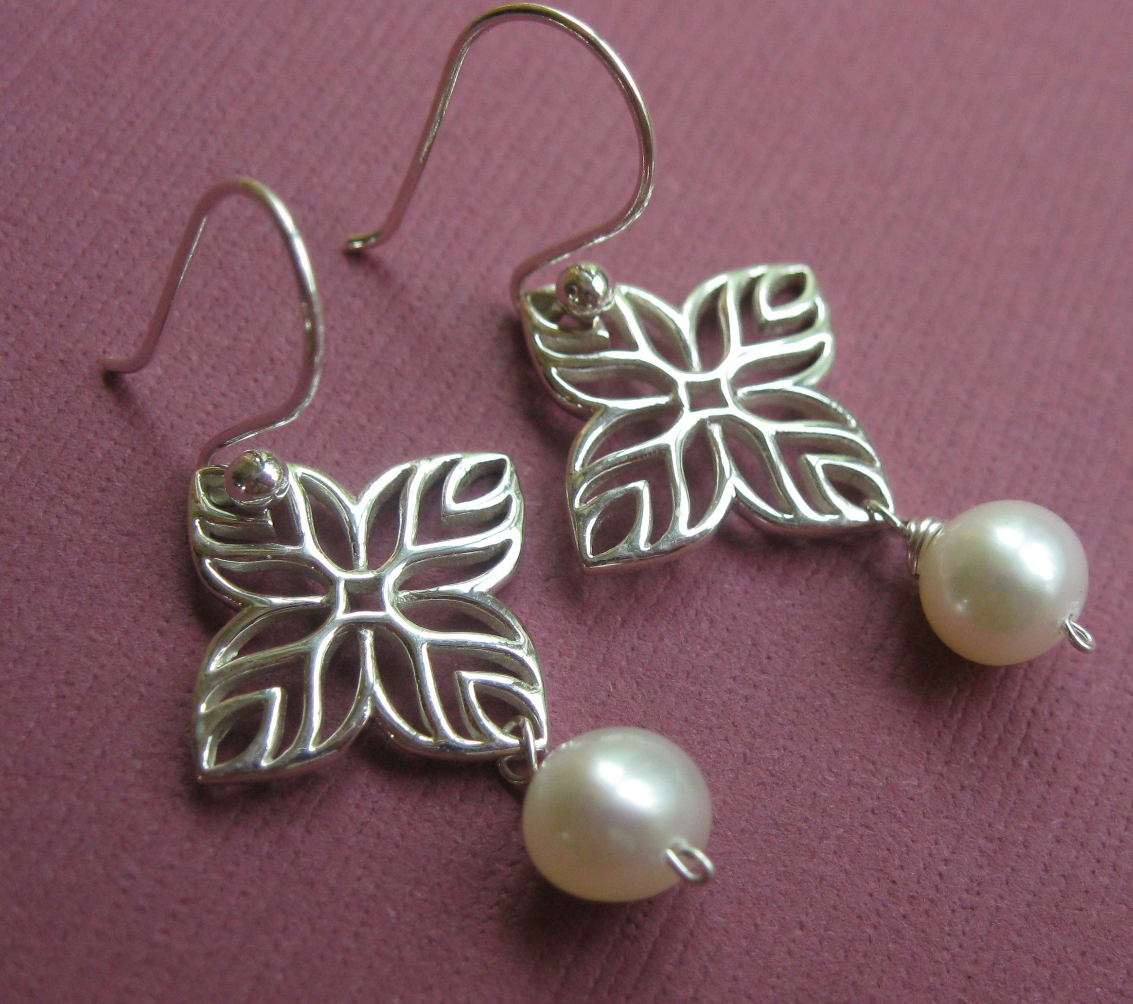 Jewelry, white, silver, Earrings, Gift, Bridesmaid, Pearl, Sterling, Otis b jewelry
