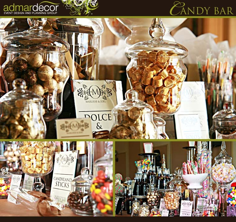 Admardecor event designers specialize in over he top candy for Candy bar for weddings receptions