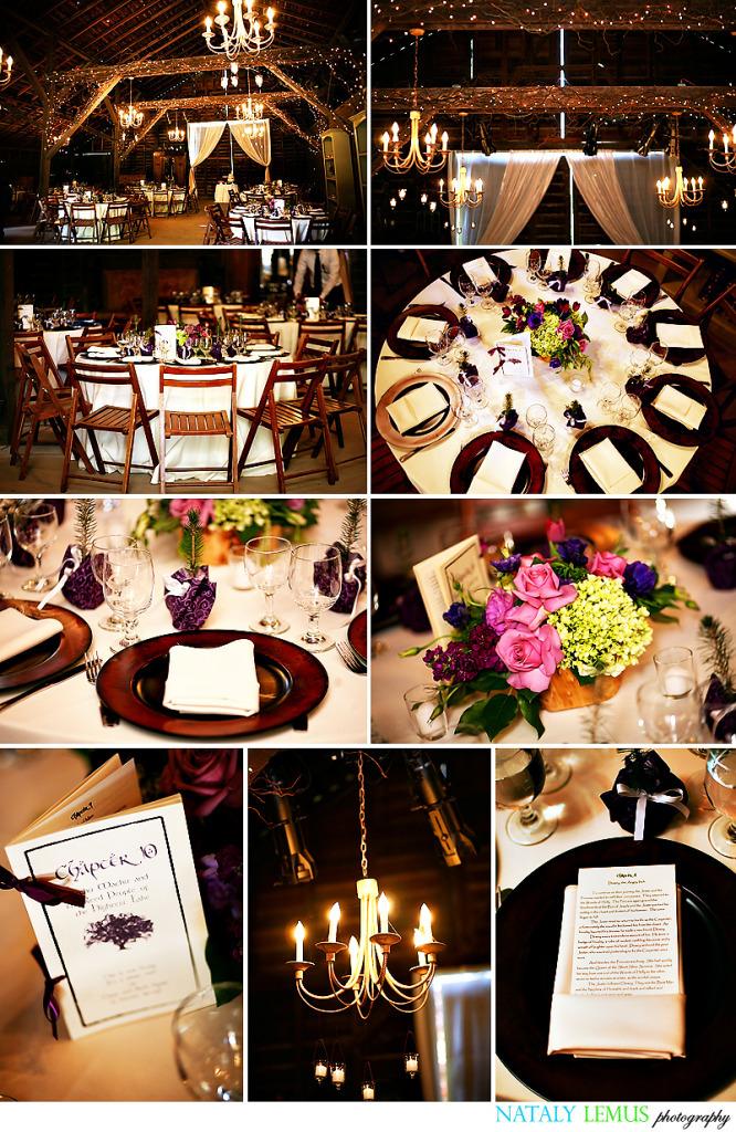 Reception, Flowers & Decor, purple, Barn, Tealight weddings events, Eucalyptus lane